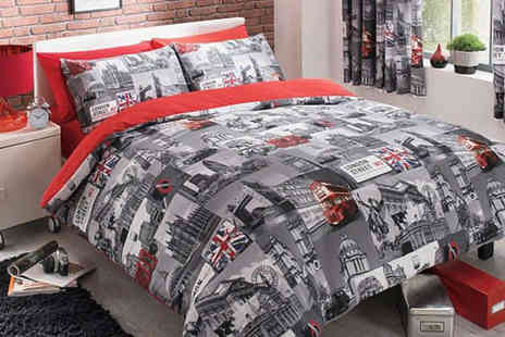 Your Essential Store  - Double Size Cityscape Bed Linen Set in a Choice of London or NYC Design - Save 73%