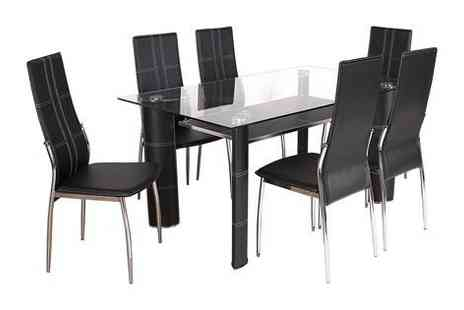 Right Deals UK - Montana seven piece dining set in black or white  - Save 0%
