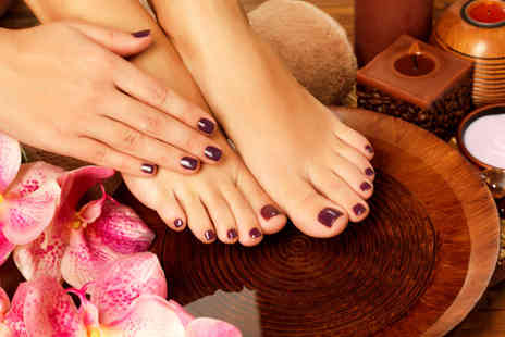 Beauty and Cut - Shellac manicure and pedicure - Save 68%