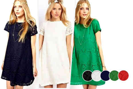 Bluebell Retail - Lace crochet mini dress in a choice of 5 colours - Save 69%