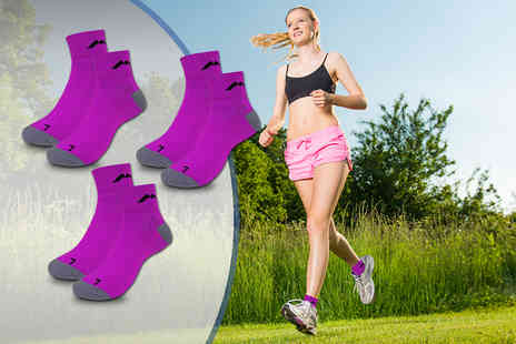 Active Human - Three pairs of V vent running socks for choose pink or blue - Save 61%