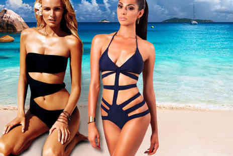Bluebell Retail - Bandage monokini or cut out trikini  for choose from 4 colours  - Save 85%