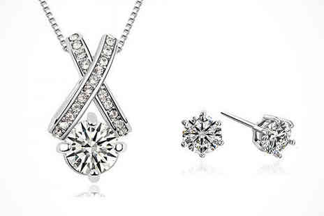 Youri deal gift store - Cross Crystal Pendant and Earrings Set Delivery Included - Save 79%