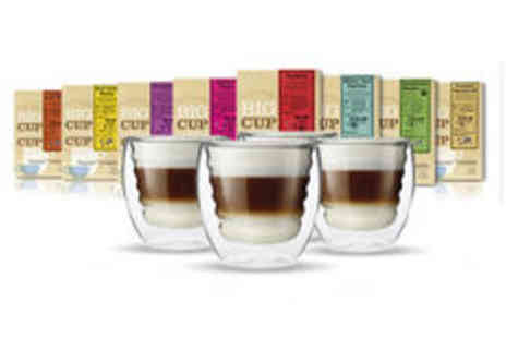 Big Cup Little Cup - 200 Nespresso compatible coffee capsules plus 4 free glasses  - Save 0%