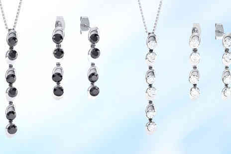 Rocks of London - Solitaire drop necklace and earrings set plus delivery  - Save 88%