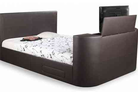 Ventura Incorporated - Pneumatic Double TV Bed in Brown Faux Leather - Save 48%