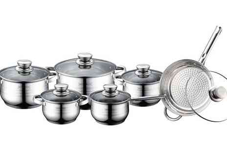 Brainify - 12 Piece Stainless Steel Cookware Set with Lids - Save 76%