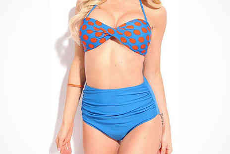 Beaches crazy - High Waisted Retro Bikini in Blue and Orange - Save 82%