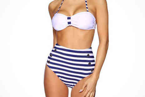 Beaches crazy - High Waisted Bikini with Blue and White Stripes - Save 78%