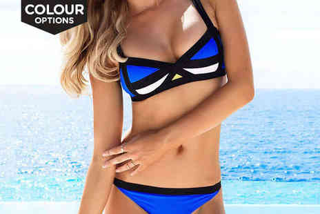 Beaches crazy - Bandage Contrast Bikini in a Choice of Colour - Save 75%