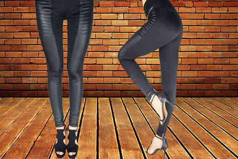Wholesale Solutions - Faux Leather Panel Leggings - Save 63%