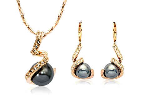 Cocobury - 18K Gold Plated Simulated Black Pearl Set - Save 64%