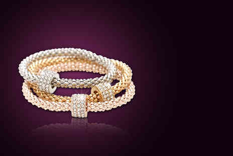 London Gem - Three piece gold, silver and rose gold plated Milano crystal bracelet set - Save 67%