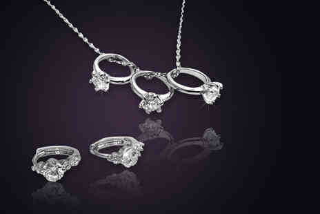 Simply 18K - Crystal ring necklace or a pair of ring earrings made with Swarovski Elements  - Save 92%