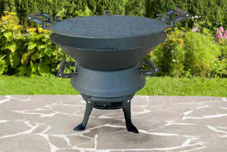 RS Communications - Cast Iron Barrel Charcoal BBQ with Adjustable Grill - Save 55%