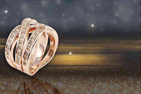 Bijou Amour - 18ct gold plated rose gold interlaced crossover ring with Swarovski crystal elements - Save 74%