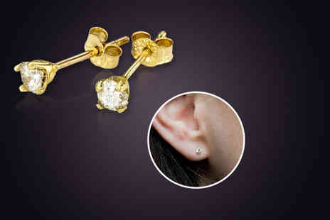 Bijou Amour - Pair of solid 9 carat gold stud earrings with sparkling 0.2 carat diamonds - Save 80%