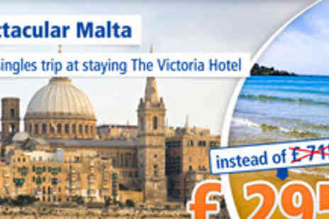The Victoria Hotel - Singles Holiday in Malta for 6 Days - Save 59%