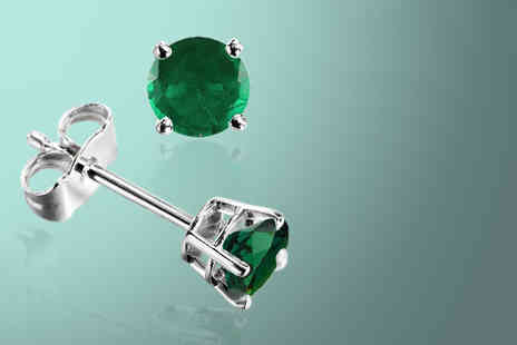 British Gem - Pair of May birthstone 0.5 carat emerald stud earrings - Save 76%