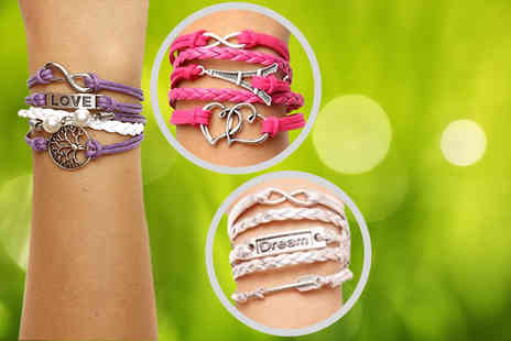 London Gem - Faux leather Rio bracelet with silver-plated charms - Save 73%