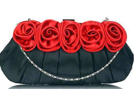 Bazaar Base - Satin Clutch Bag with Rose Design - Save 63%