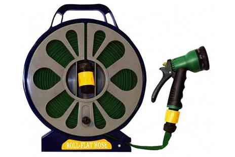 Your Essential Store - 50ft Garden Flat Hose With Spray Nozzle - Save 63%