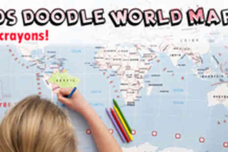 Maps International - Kids Doodle World Map - Save 60%