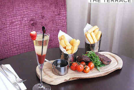 Amba Hotel - 8oz Sirloin Steak Meal with Chips and a Side Salad for Two with a Strawberry Bellini Each - Save 58%