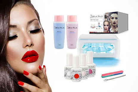 3 Week Nails Manicure - At Home Gel Nails Starter Kit Including Four UV Gel Polishes and UV Lamp - Save 76%