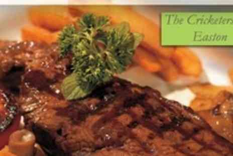 The Cricketers Inn - 8oz Rump Steak Dinner for Two With Wine or Beer - Save 50%