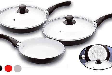 Home Direct Online - Five Piece Ceramic Pan Set - Save 69%