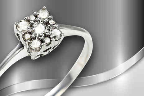 Bijou Amour -  Nine white diamond 15pt square ring on sterling silver band - Save 80%