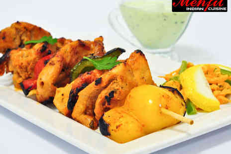Mehfil Indian Cuisine - Poppadoms, Pickles, Starter, and Main Course Each with Rice and Naan to Share for Two  - Save 46%