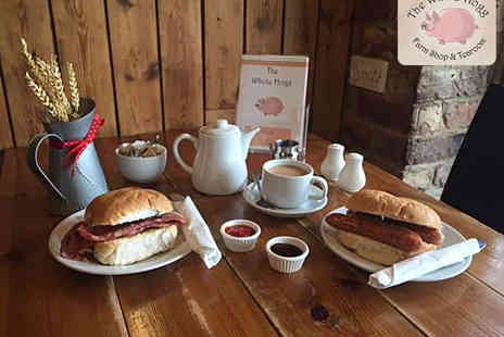 The Whole Hogg Farm Shop - Bacon or Sausage Sandwich with Hot Drink for Two - Save 52%
