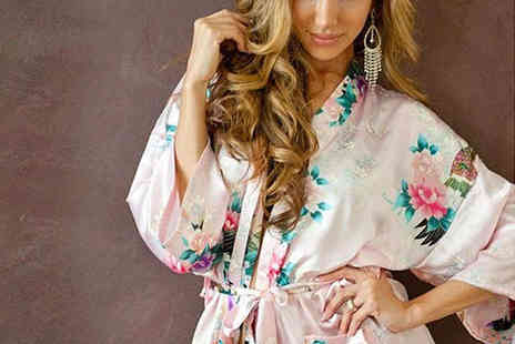 Beaches crazy - Silky Kimono Inspired Robe Printed or Plain - Save 78%