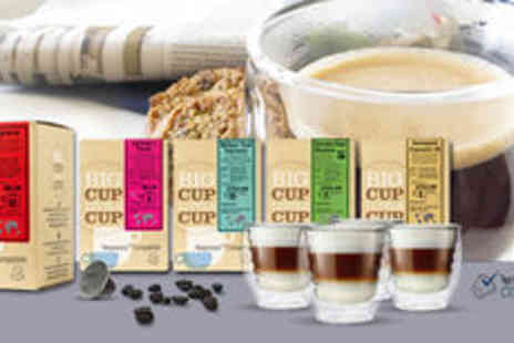 Big Cup Little Cup - 200 Nespresso compatible coffee capsules and four FREE glasses FREE delivery - Save 0%