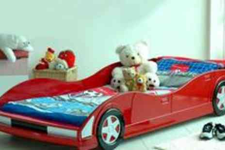 Heartlands Furniture - Red Movi Kids Racing Car Bed and mattress - Save 55%