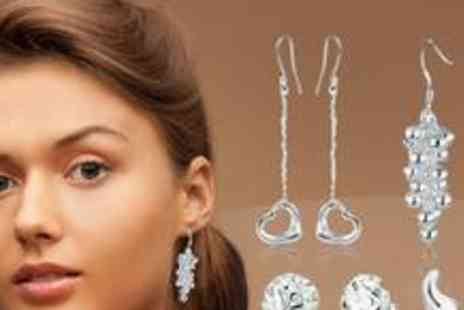Silver Republic - Four sets of beautiful silver earrings - Save 76%