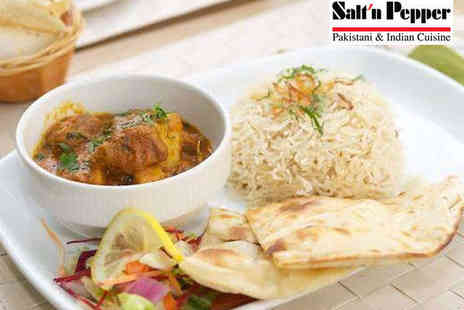 Salt n Pepper - Three Course Meal with Glass of Prosecco or Wine, or Soft Drink for Two - Save 48%
