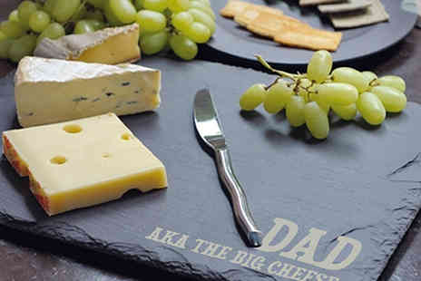 Treat Republic - Personalised Rustic Slate Cheese Board - Save 53%