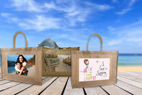 Great Photo Gifts - Personalised photo jute beach bag - Save 52%