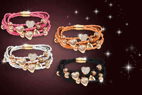 Simply 18K - Faux leather bracelet with heart charms and Swarovski Elements  - Save 76%