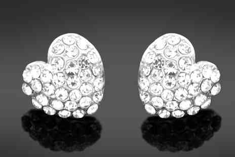 Elite Fashion - Crystal Love Heart Studs - Save 80%