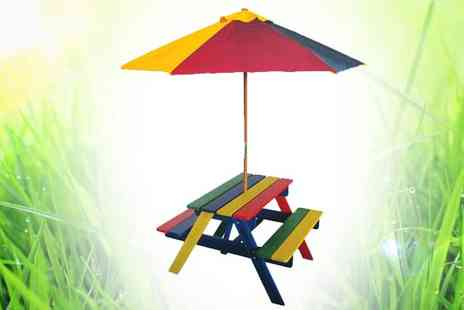 All Boxed Up  - Kids Wooden Rainbow Bench and Parasol - Save 55%
