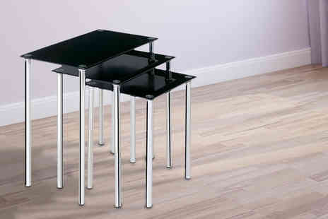 Rajanis - Set of three contemporary black glass nesting tables - Save 33%