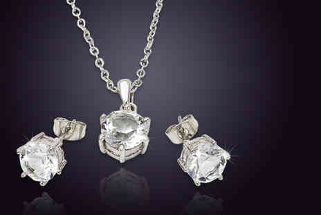 Bijou Amour - Six carat platinum plated pendant and earrings set - Save 0%