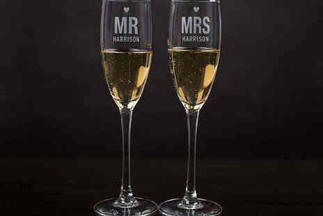 Getting Personal - Personalised Mr & Mrs Champagne Flutes - Save 33%