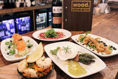 Wood. Wine & Deli - Five Tapas Dishes and Bottle of Wine to Share for Two - Save 51%