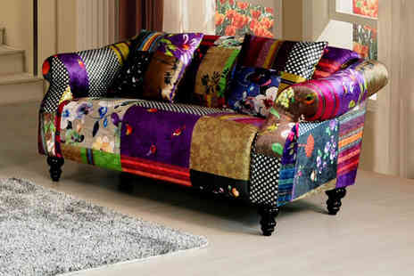 Love Sofas - Two seater velvet patchwork sofa - Save 57%