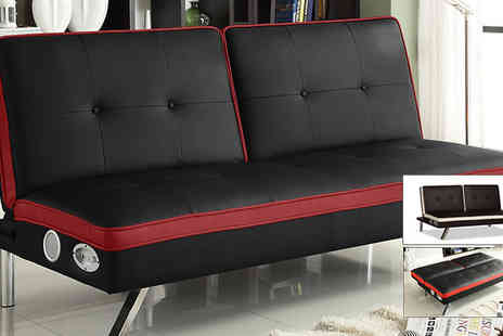 Sleep Solutions - Faux Leather Speaker Sofa Bed - Save 63%